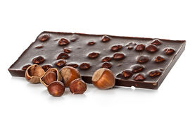 Chocolate with nuts close-up isolated on a white Stock Photo