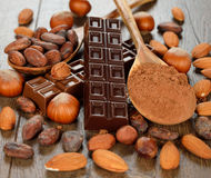 Chocolate, nuts and cocoa beans Royalty Free Stock Photos