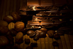 Chocolate, nuts and coffee Royalty Free Stock Photo
