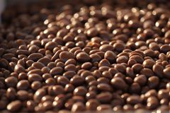 Chocolate nuts. Nuts in chocolate for dessert. Milk chocolate candies. Chocolate background texture. stock photo