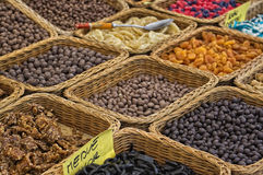 Chocolate nuts and dry fruits Stock Photo