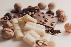 Chocolate and nuts Royalty Free Stock Photo