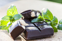Chocolate with nuts and fresh mint Stock Image