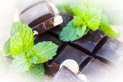 Chocolate with nuts and fresh mint Royalty Free Stock Photo