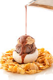 Chocolate and nuts ice cream with caramel almond chips and chocolate topping on white plate, exclusive summer dessert, patisserie Stock Photos