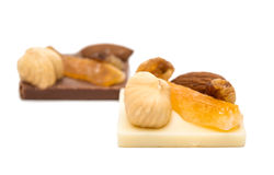 Chocolate with nuts isolated Stock Photo