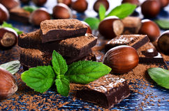 Chocolate, nuts and mint Stock Image