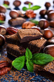 Chocolate, nuts and mint Royalty Free Stock Photos