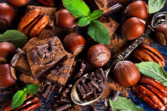 Chocolate, nuts and mint Royalty Free Stock Photo