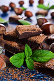 Chocolate, nuts and mint Royalty Free Stock Image