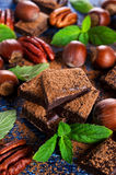 Chocolate, nuts and mint Stock Photo