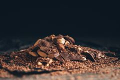 Chocolate with nuts pieces Stock Images