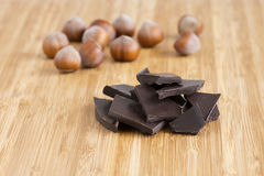 Chocolate and nuts Royalty Free Stock Photography