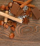 Chocolate,nuts and spice Stock Image