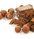Chocolate,nuts and spice Royalty Free Stock Photography
