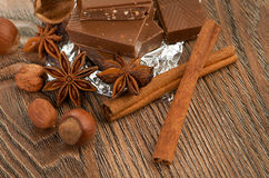 Chocolate,nuts and spice Royalty Free Stock Photo