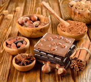 Chocolate, nuts and spices Royalty Free Stock Images