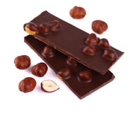 Chocolate with nuts on white. Royalty Free Stock Photography