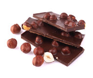 Chocolate with nuts  on white. Royalty Free Stock Photos