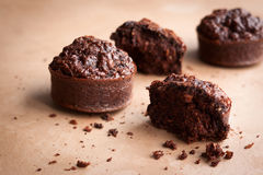 Chocolate oat bran muffins Stock Photos