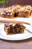 Chocolate and oat cake with nuts Royalty Free Stock Photo