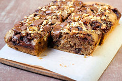 Chocolate and oat cake with nuts Royalty Free Stock Image