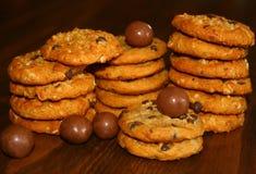 Chocolate Oatmeal Cookies. Stack of sweet chocolate oatmeal cookies Stock Image