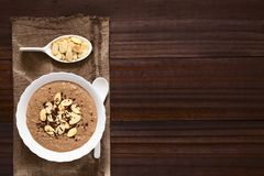 Chocolate Oatmeal or Oat Porridge. With toasted almond slices and grated chocolate on top served in small bowl, photographed overhead with natural light Stock Images
