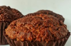 Chocolate oats cupcakes. Chocolate oats healthy cupcakes Stock Photos