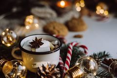 Free Chocolate Or Cocoa With Marshmallow, Cookies, Candy On White Background. Royalty Free Stock Photos - 128691018