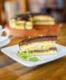 Chocolate orange cake and cappuccino Royalty Free Stock Image
