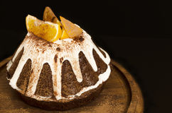 Chocolate Orange Cake Covered With Icing Stock Photos