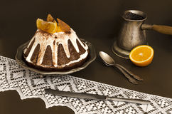Chocolate Orange Cake Covered With Icing Stock Photography
