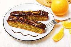 Chocolate-orange cake with orange peel Royalty Free Stock Images