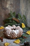 Chocolate orange christmas cake. Royalty Free Stock Photography