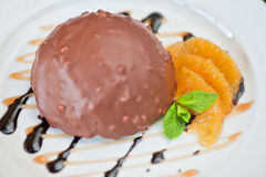 Chocolate and orange croissant Stock Photos