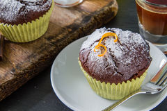 Chocolate and orange cupcake with coffee Stock Photography
