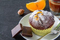 Chocolate and orange cupcake with coffee Royalty Free Stock Photo