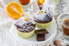 Chocolate and orange cupcake with coffee Royalty Free Stock Photography