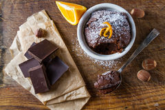 Chocolate and orange cupcake with coffee Royalty Free Stock Photos