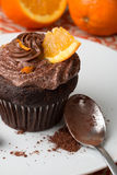 Chocolate and orange cupcake Royalty Free Stock Photo