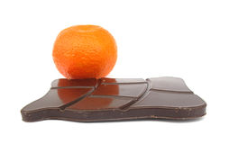 Chocolate with orange fruit Stock Photography