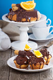 Chocolate orange marble cake Royalty Free Stock Image