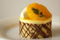 Chocolate orange mousse cake. With mandarin oranges stock images