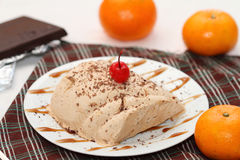 Chocolate and orange semifredo ice cream. In portion option Stock Image