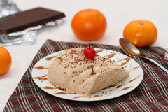 Chocolate and orange semifredo ice cream. In portion option Royalty Free Stock Images