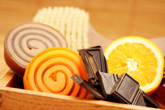 Chocolate and orange soaps Royalty Free Stock Image