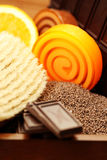 Chocolate and orange soaps Royalty Free Stock Images