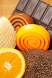 Chocolate and orange soaps Stock Photography