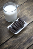 Chocolate oreo cookies on the table Stock Image